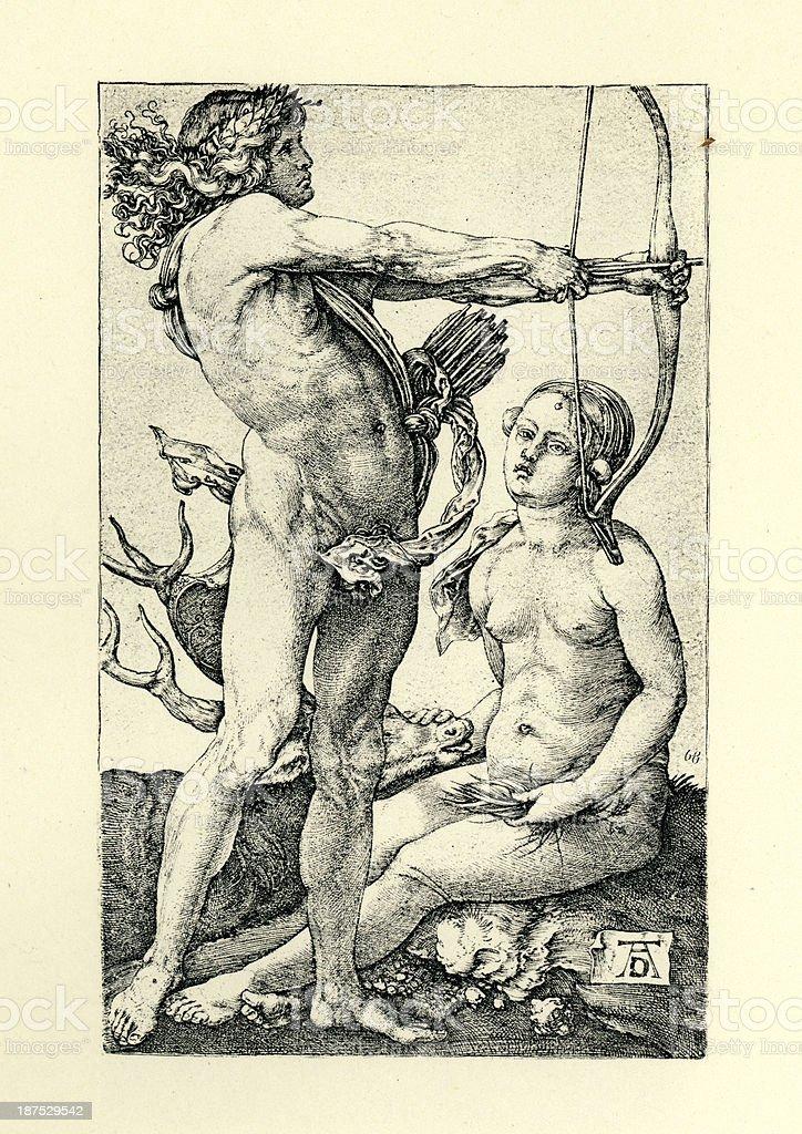 Apollo and Diana royalty-free stock vector art