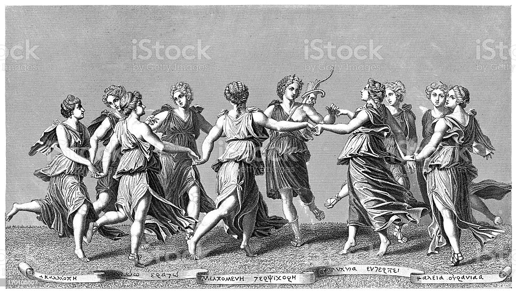 Apollo And The Muses vector art illustration