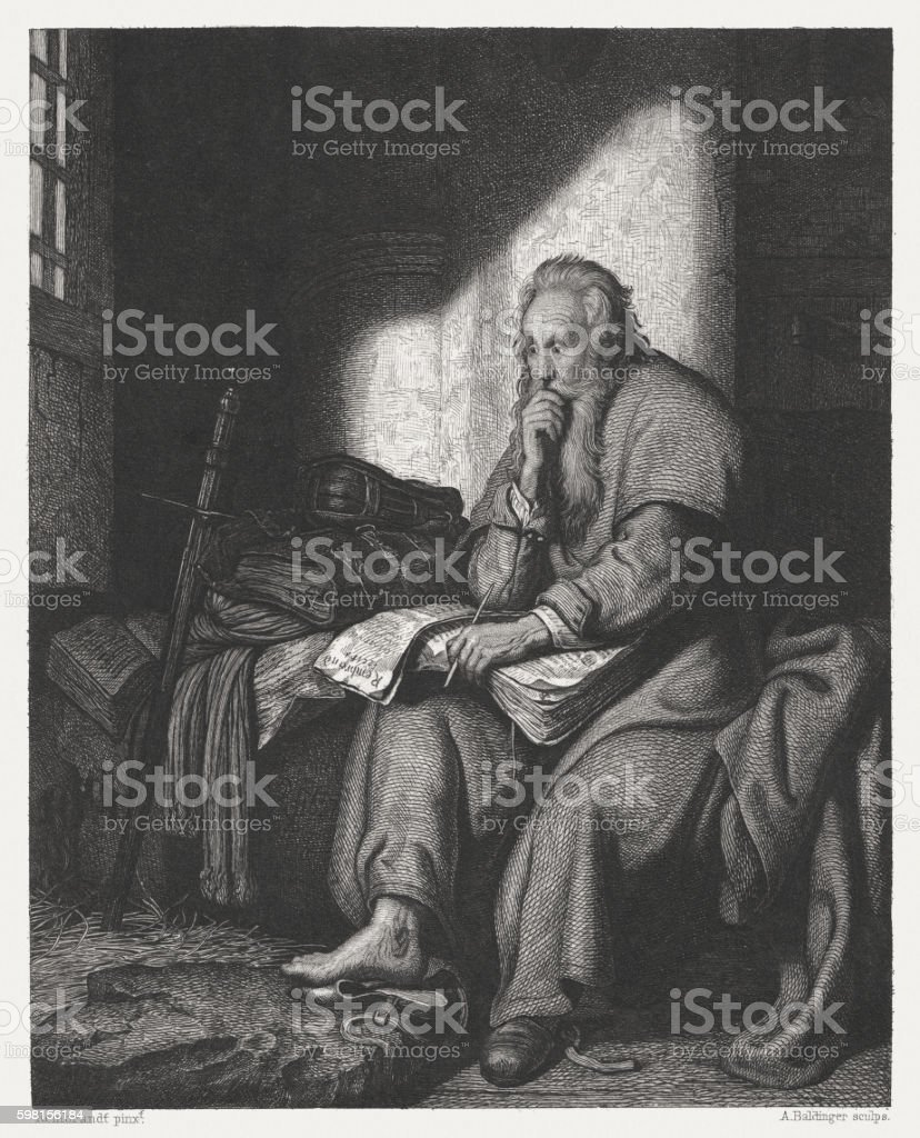 Apostle Paul in prison, copper engraving after Rembrandt, published c.1880 vector art illustration