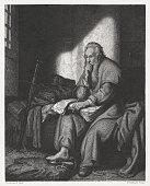 Apostle Paul in prison, copper engraving after Rembrandt, published c.1880