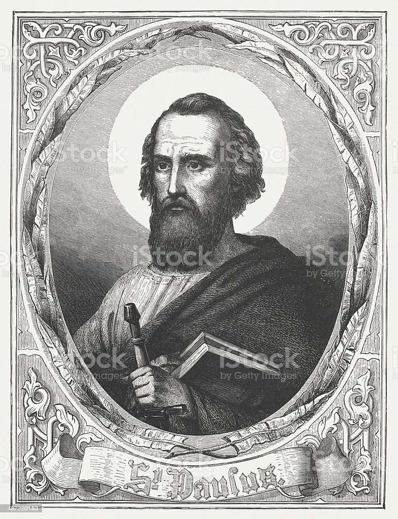 Apostle Paul, wood engraving, published in 1868 vector art illustration