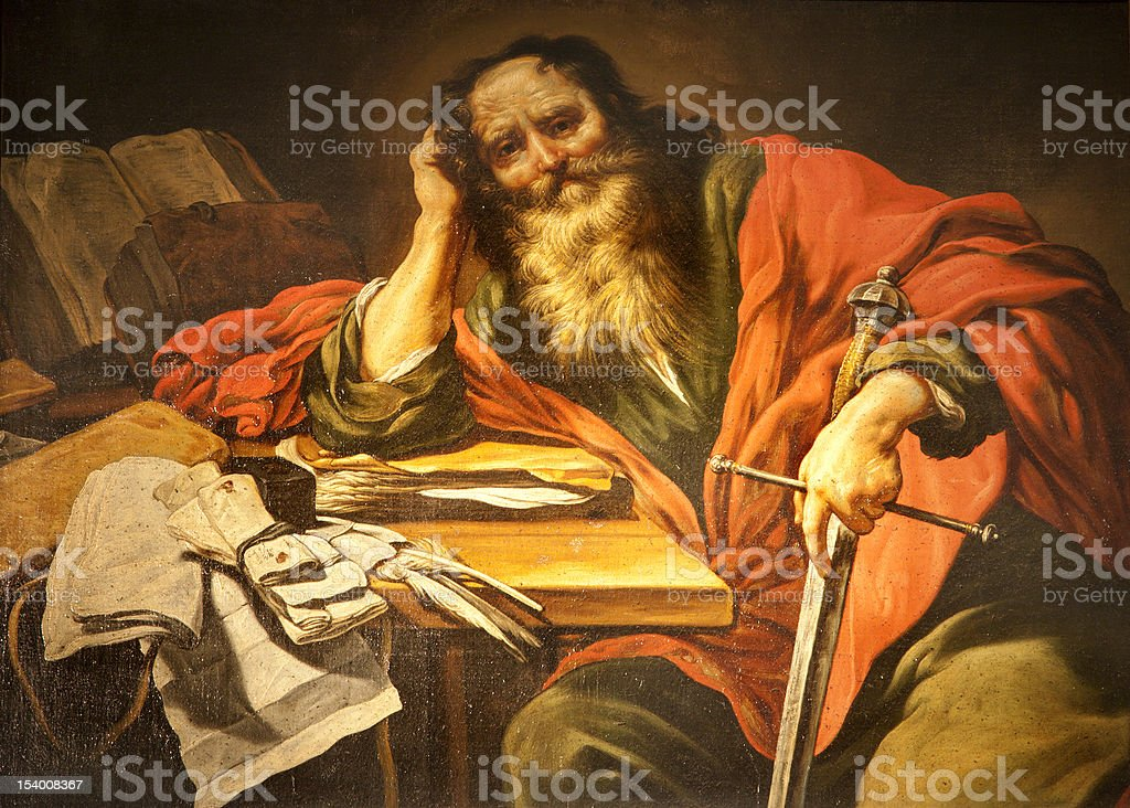 apostle Saint Paul paint from Paris vector art illustration