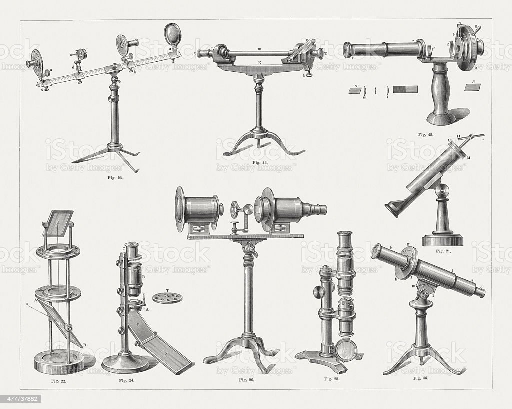 Apparatus for Polarization of light, wood engravings, published in 1878 vector art illustration