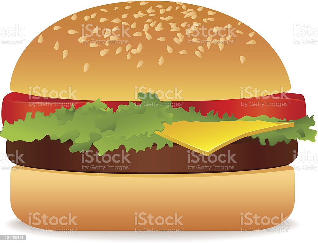 Appetizing isolated vector Hamburger (Burger, Cheeseburger). Tomato, cutlet. Fast Food royalty-free stock vector art