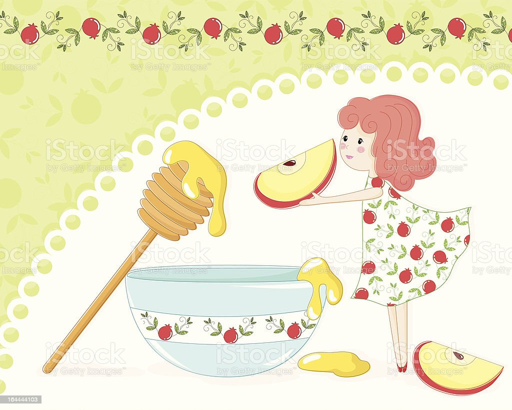 apple and honey royalty-free stock vector art