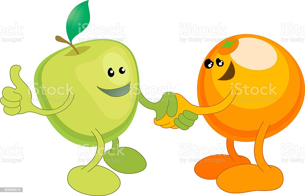 Apple and Orange happily shaking hands royalty-free stock vector art