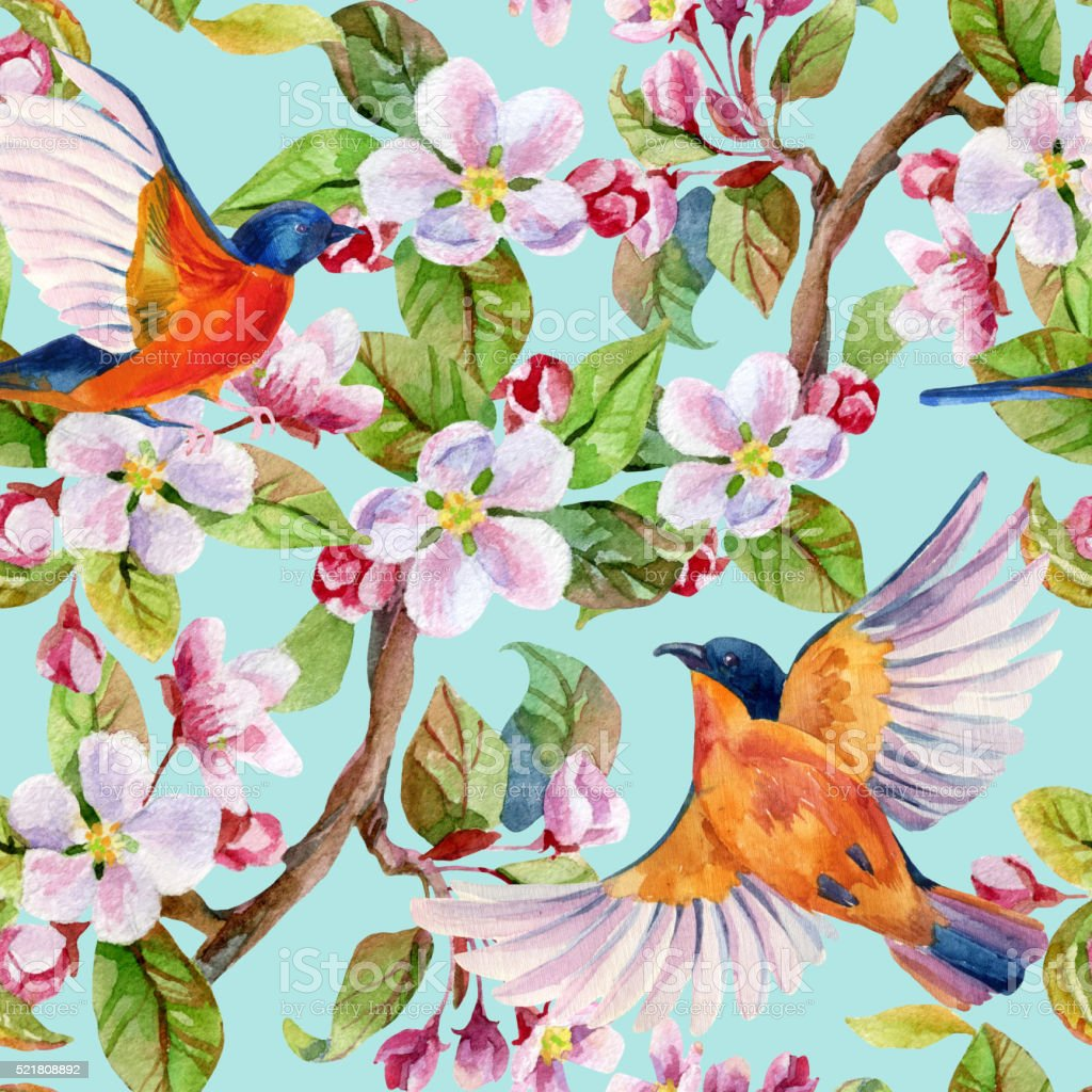 Apple blossom and flying birds. vector art illustration