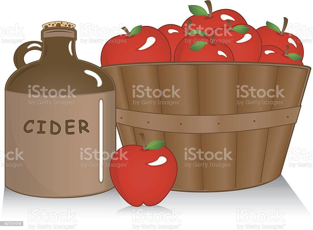 Apple cider with basket vector art illustration