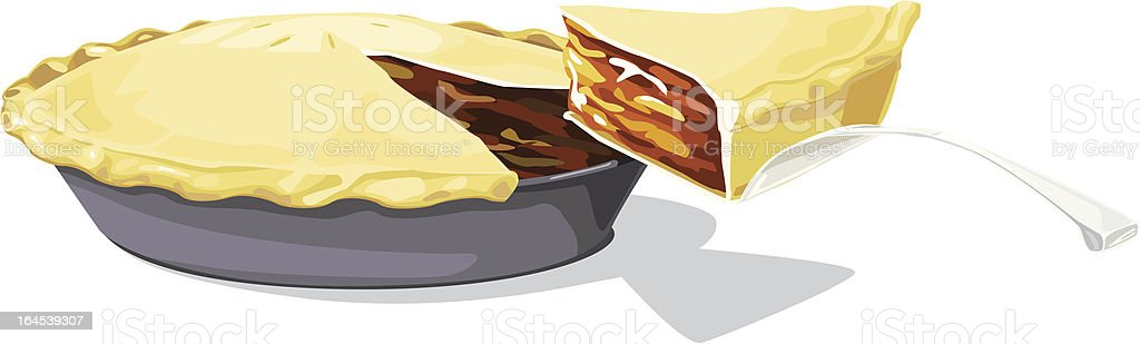 Apple pie with a slice vector art illustration