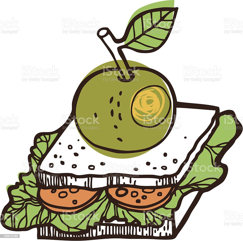 Apple with a sandwich royalty-free stock vector art