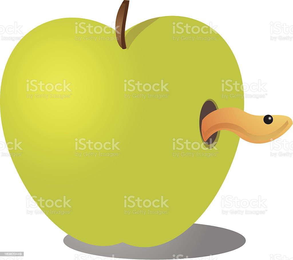 Apple with worm vector art illustration