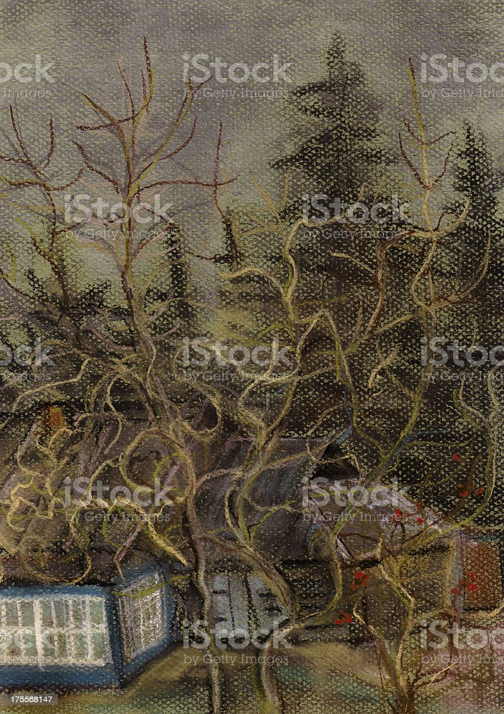 Apple-tree near the old house royalty-free stock vector art