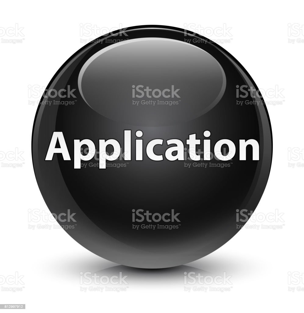 Application glassy black round button vector art illustration
