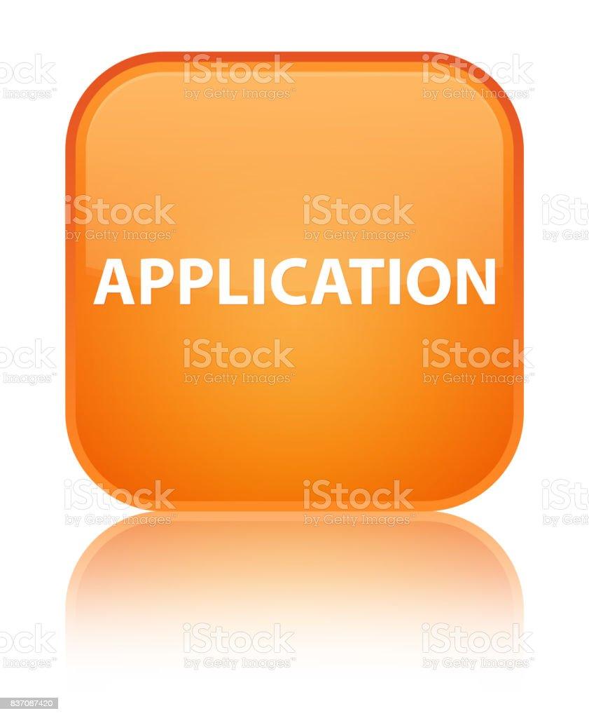 Application special orange square button vector art illustration