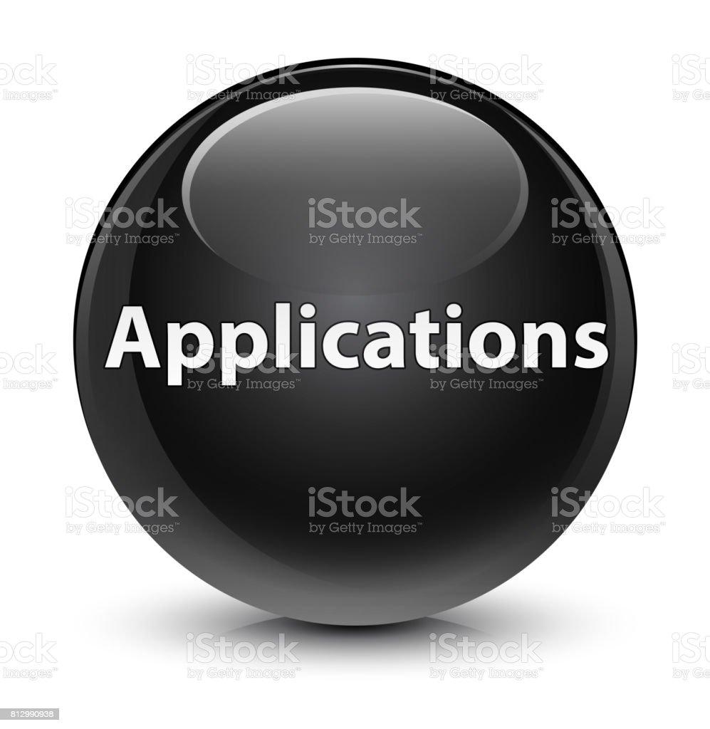 Applications glassy black round button vector art illustration