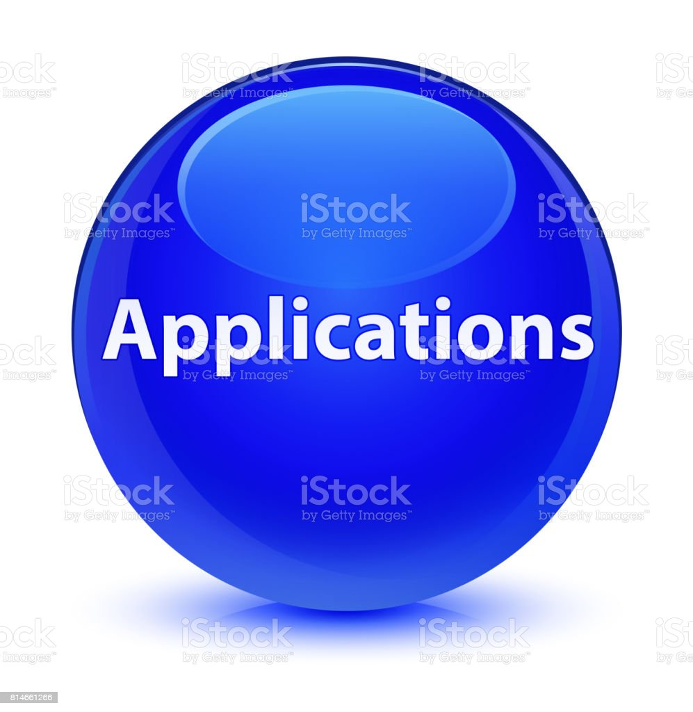 Applications glassy blue round button vector art illustration
