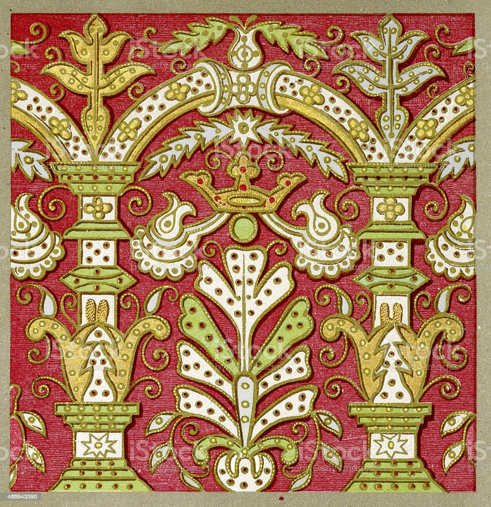 Applique embroidery pattern - 16th Century royalty-free stock vector art