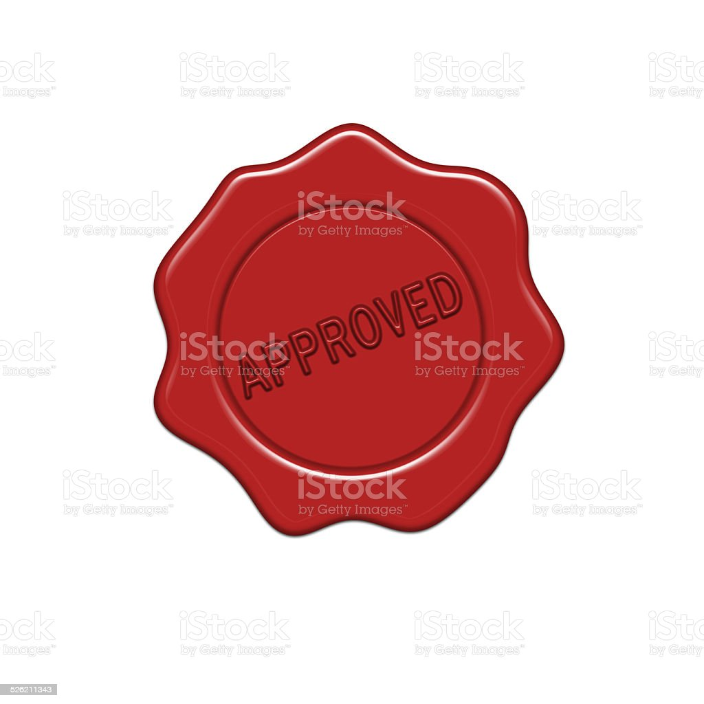 Approved wax seal. vector art illustration