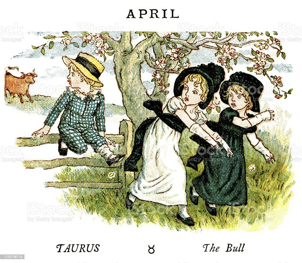 April - Kate Greenaway, 1884 royalty-free stock vector art