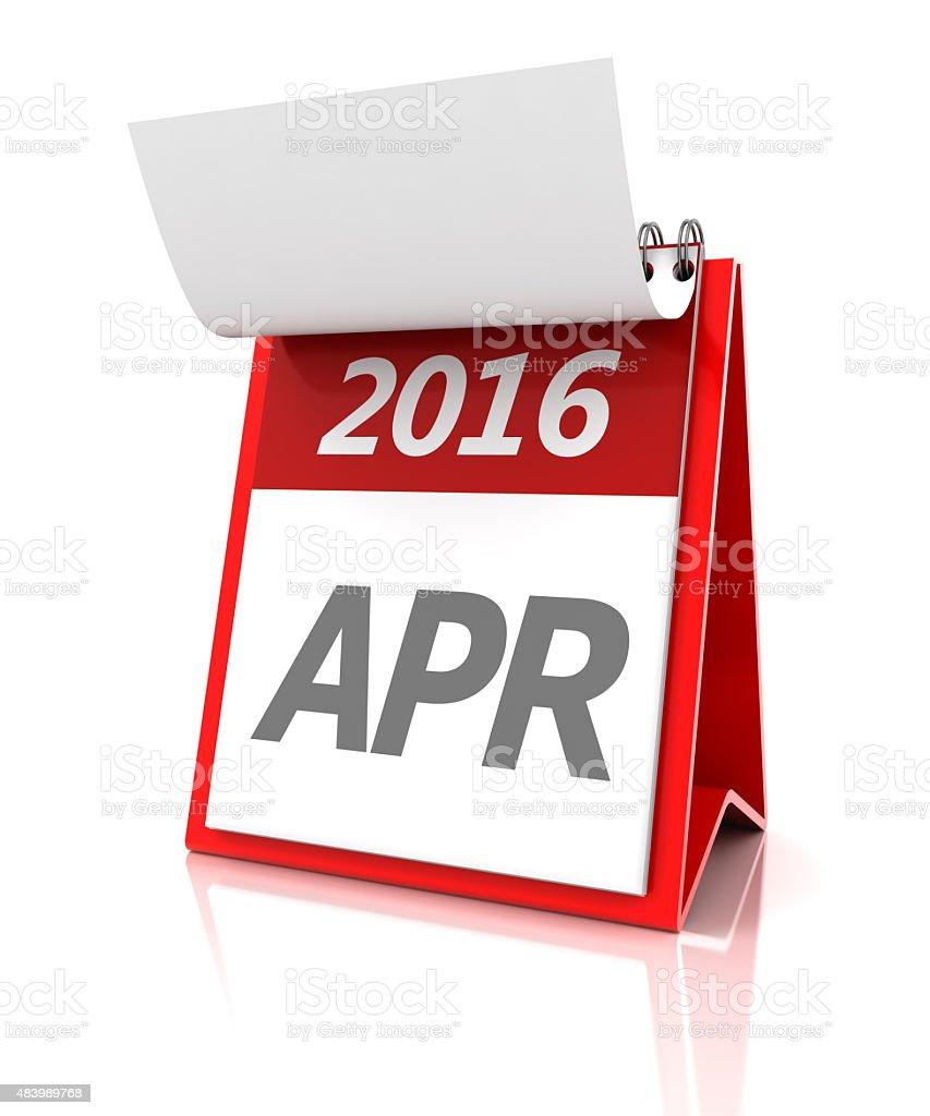 April of 2016 calendar, 3d render vector art illustration