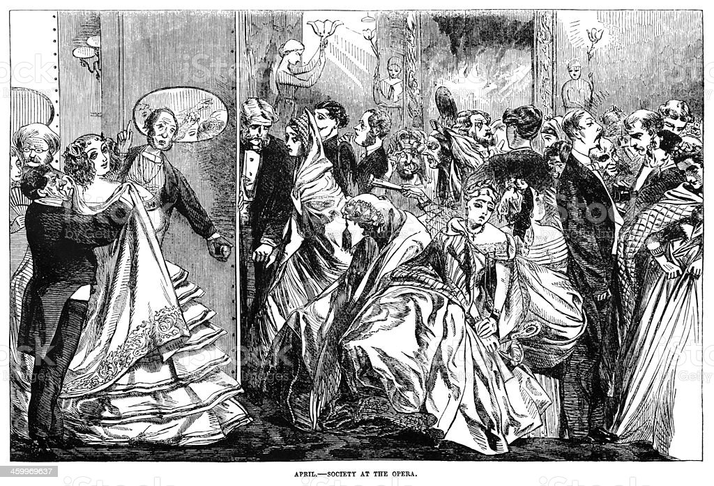 April - Society at the Opera vector art illustration
