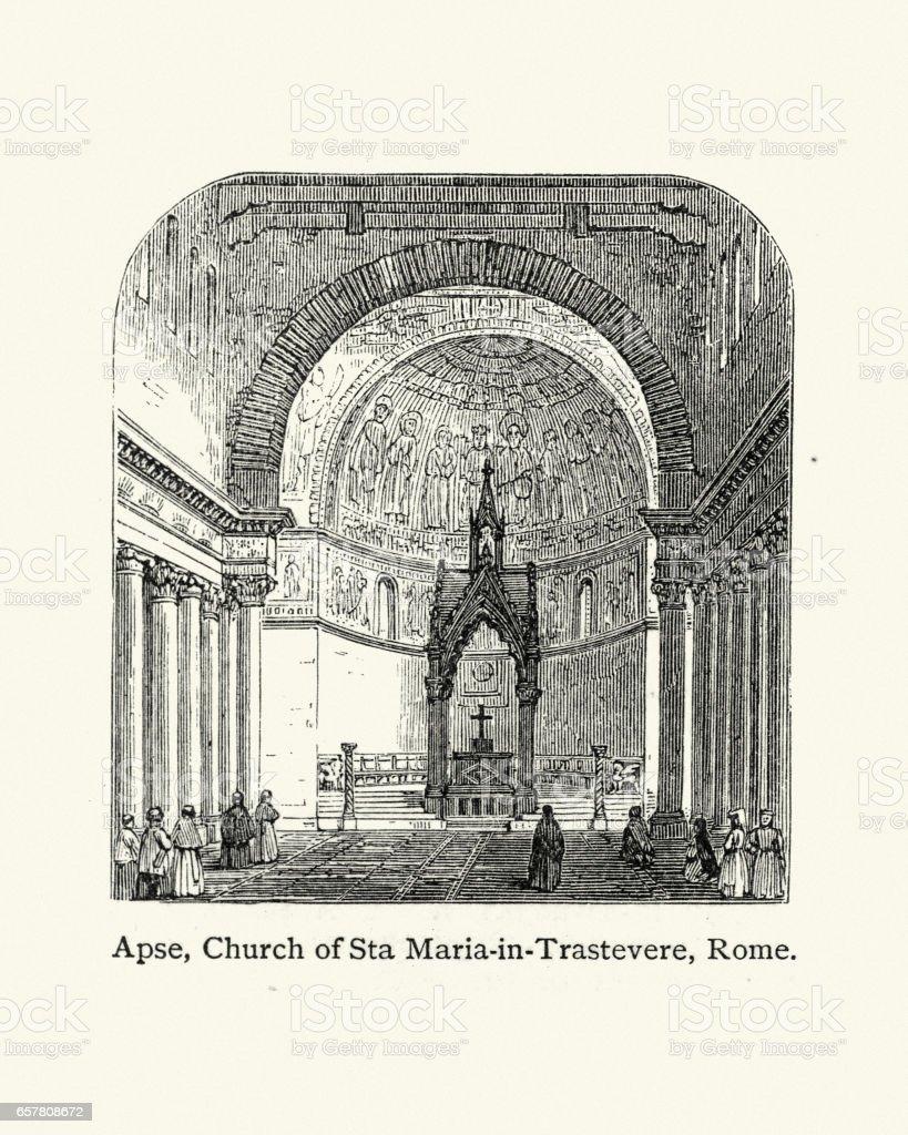Apse of the Church of Sta Maria in Trastevere, Rome vector art illustration