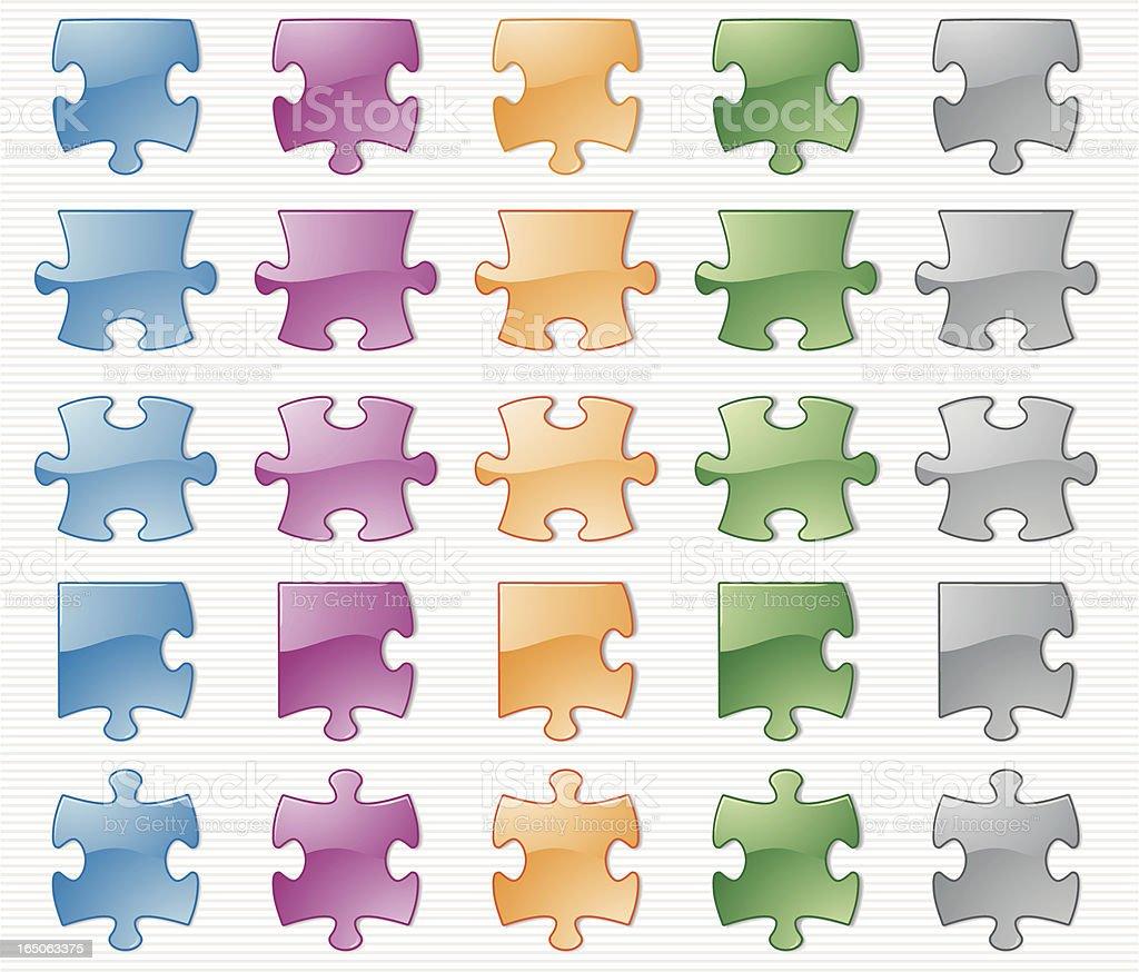 Aqua Puzzle Pieces royalty-free stock vector art