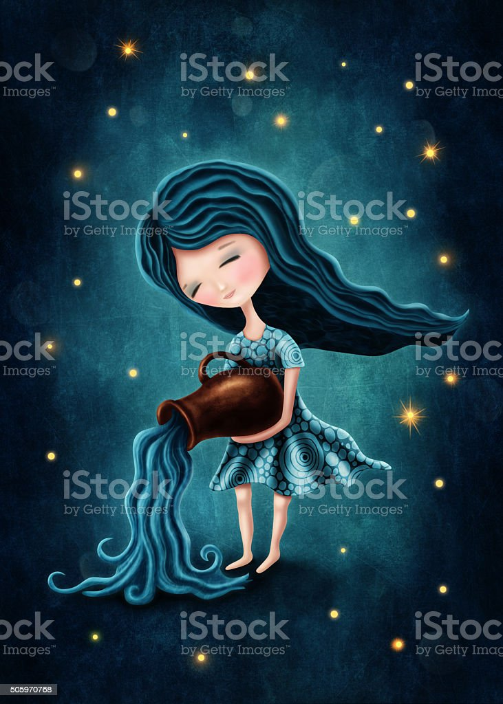 Aquarius astrological sign girl vector art illustration