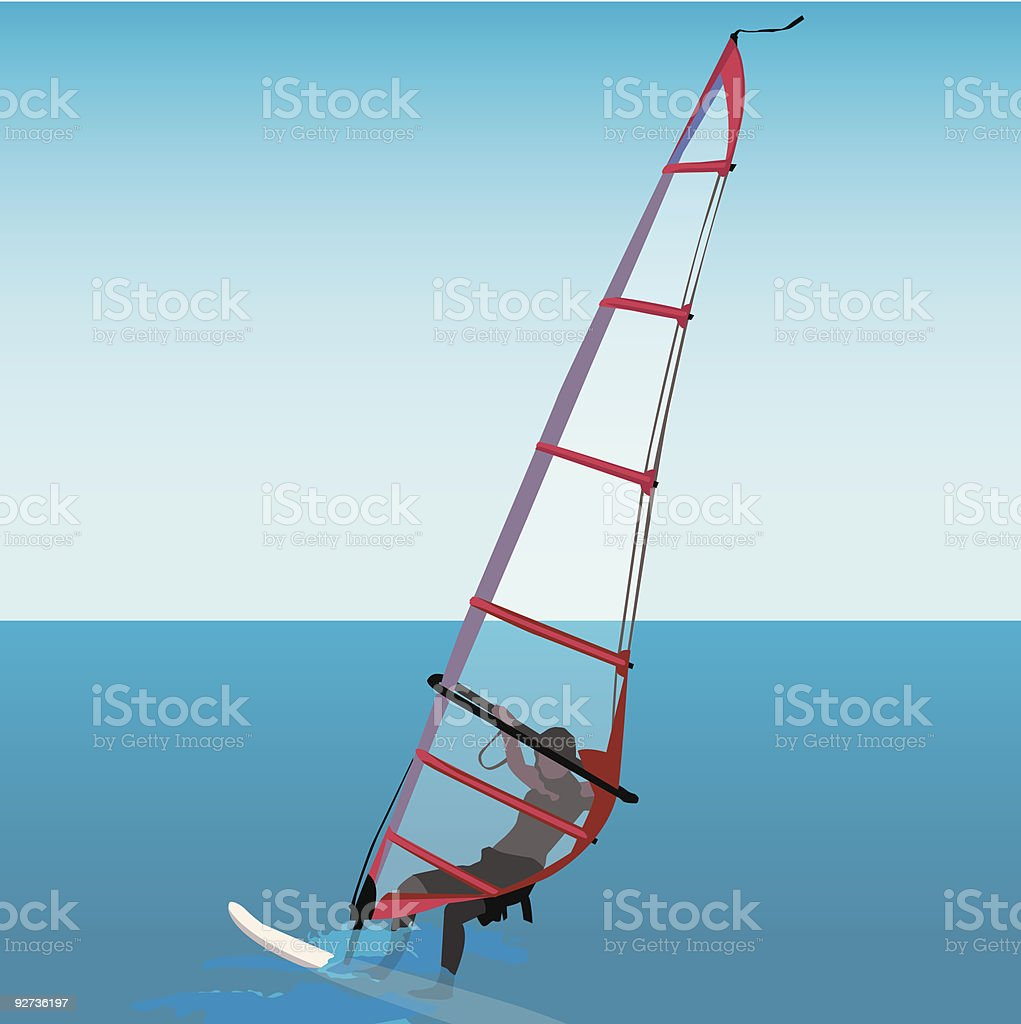 Aquatic sport - windsurf vector art illustration