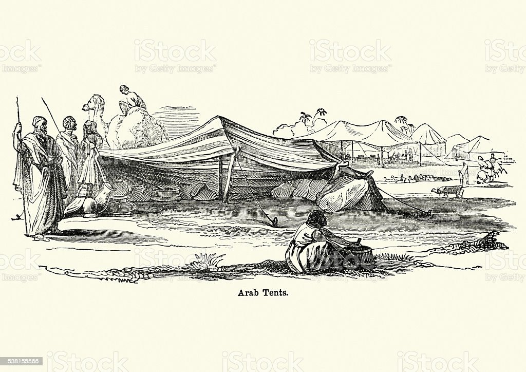 Arab tents in the desert, 19th Century vector art illustration