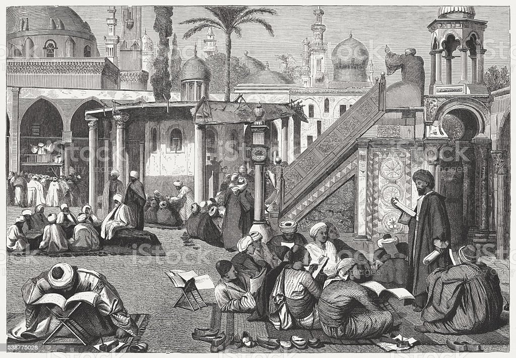 Arab University in Cairo, Egypt, wood engraving, published in 1869 vector art illustration