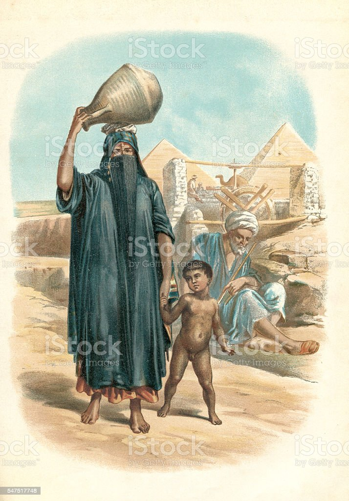 Arabe mother with son walking near the pyramide 1880 vector art illustration
