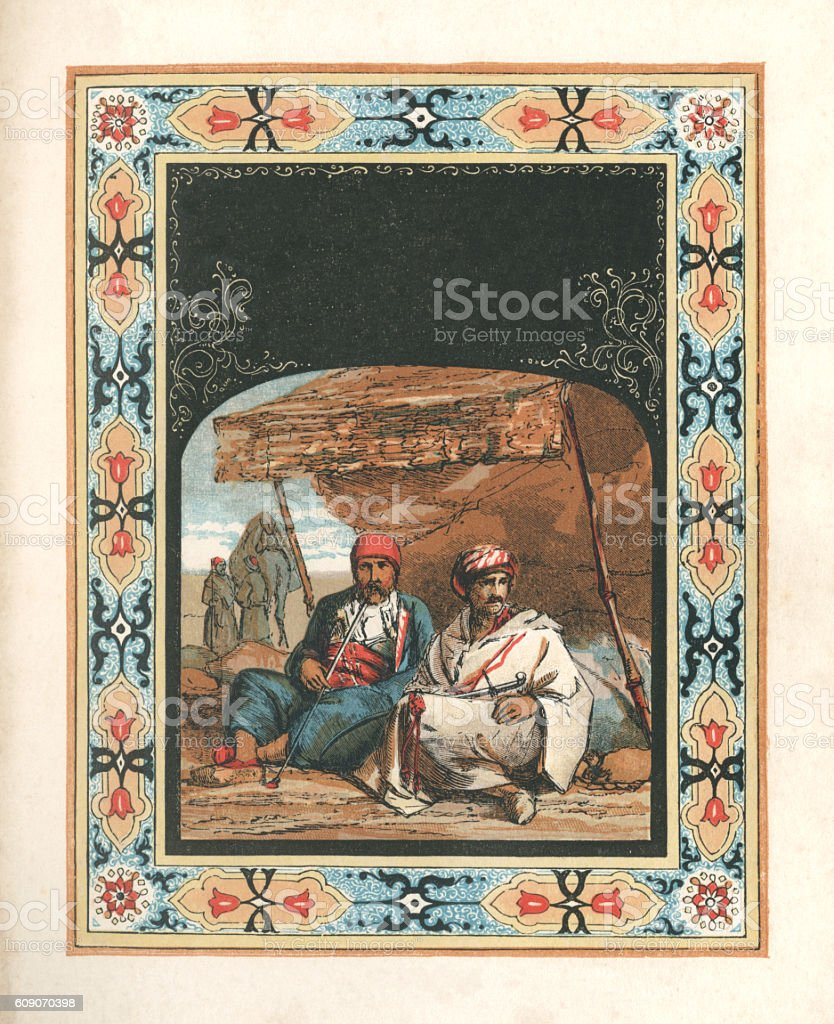 Arabs outside a tent (with Arabic style border) vector art illustration