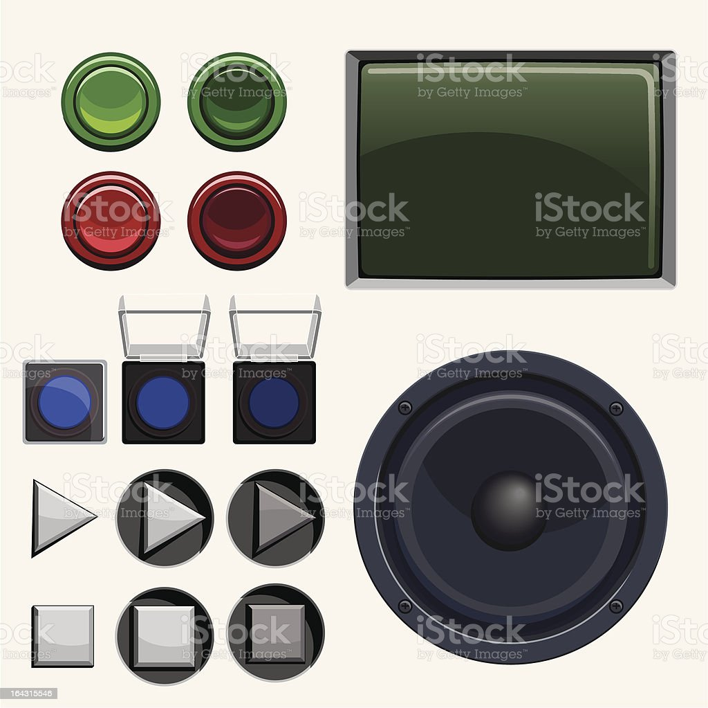 Arcade & Stereo Button Collection vector art illustration
