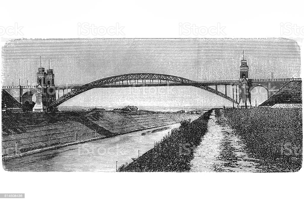 Arch bridge over the Kaiser - Wilhelm - channel at Grünenthal vector art illustration