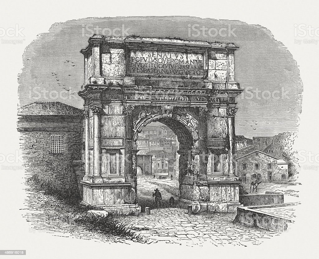 Arch of Titus, published in 1878 vector art illustration