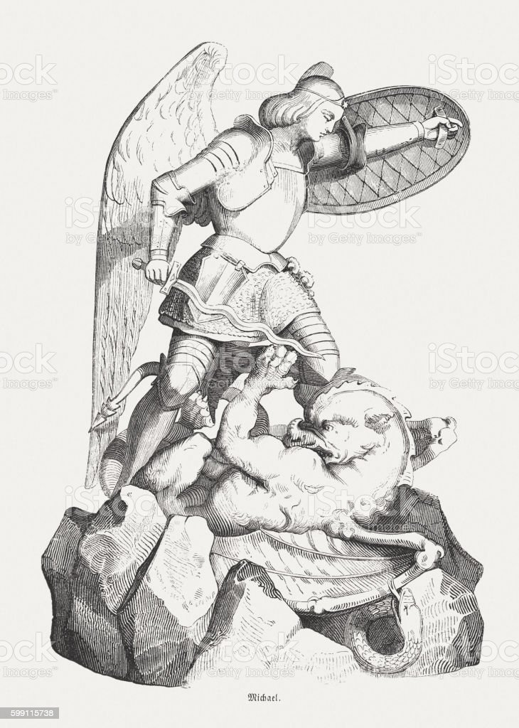 Archangel Michael's Battle with the Devil , wood engraving, published 1855 vector art illustration