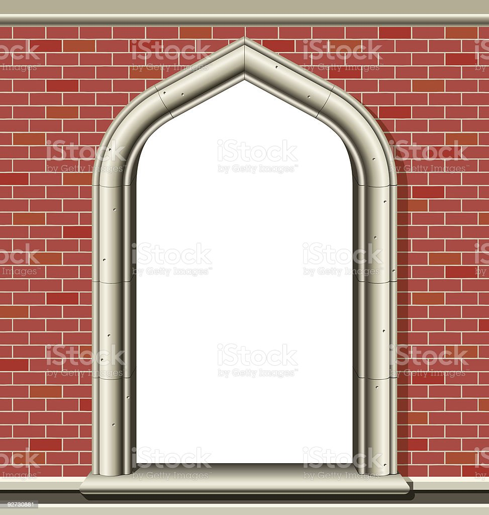 Arched window, bricks royalty-free stock vector art