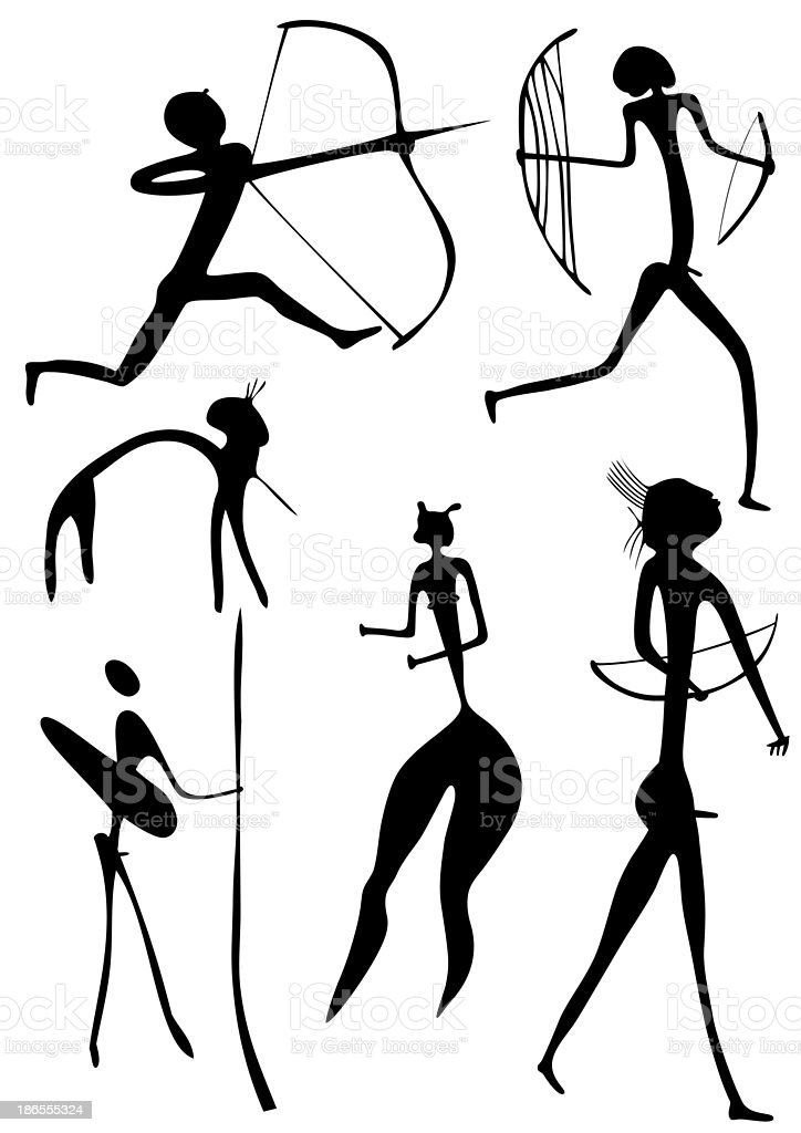 archer and other figures vector art illustration