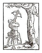 Archer Hunter on white 17 century Woodblock Engraving