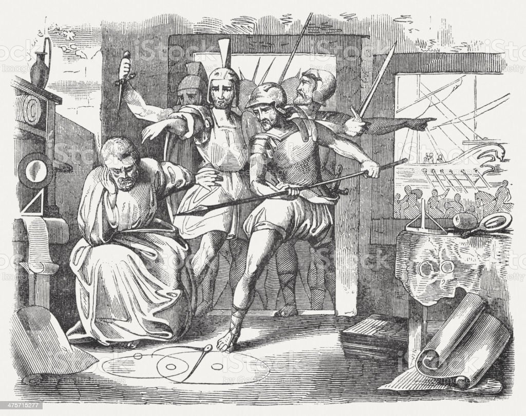 Archimedes of Syracuse killed by a Roman soldier (c.212 BC) vector art illustration