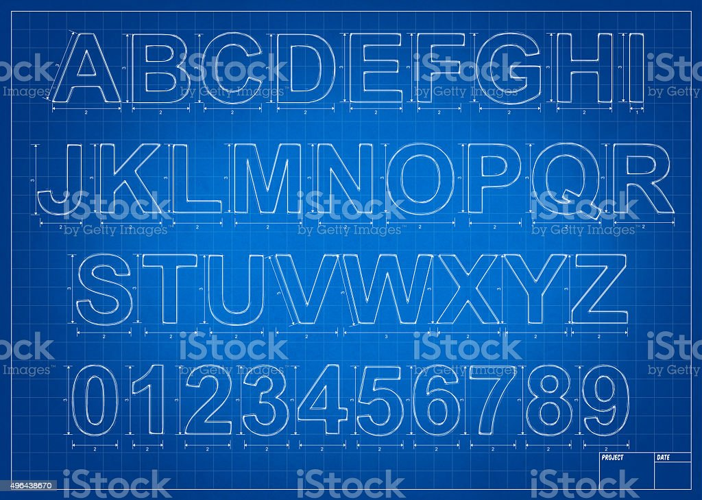 Architect blueprint alphabet letters vector art illustration