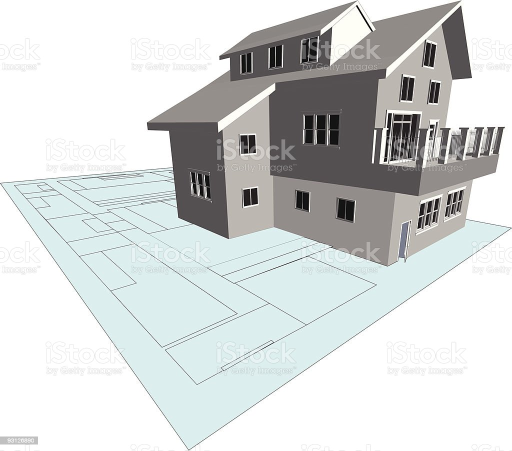 Architects Model and Blueprint royalty-free stock vector art