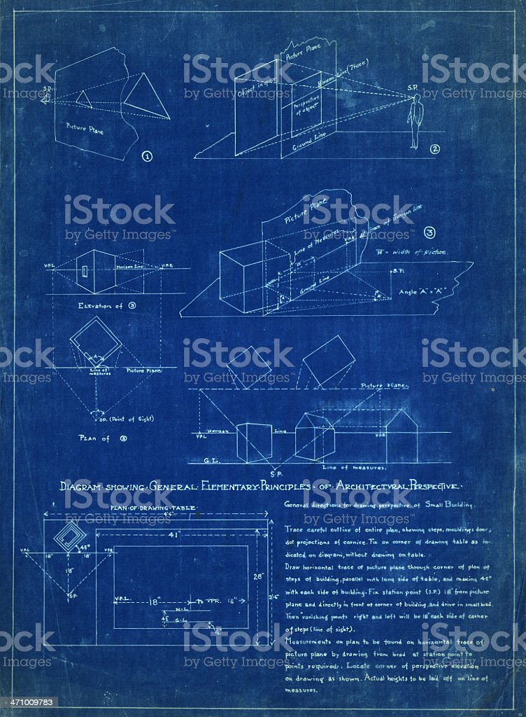 architectural perspective blueprint royalty-free stock vector art
