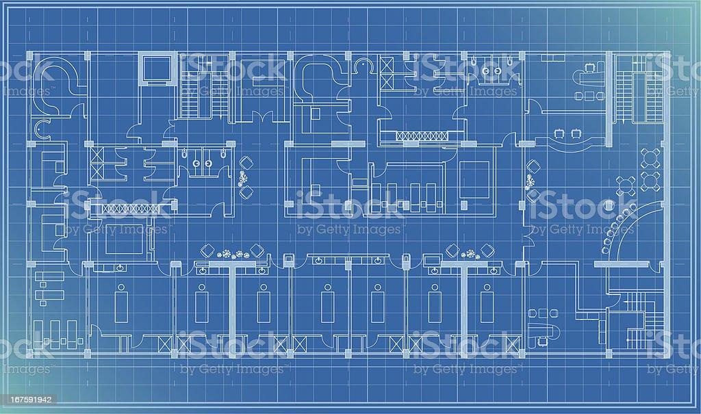 architectural plan blueprint vector art illustration