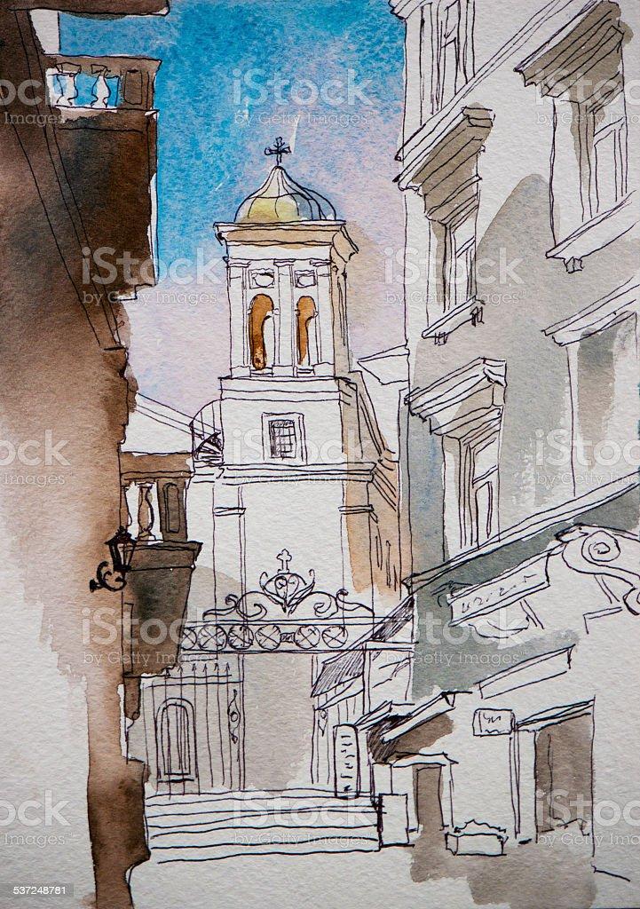 Architectural sketch of Saint Mary Draperis Church vector art illustration