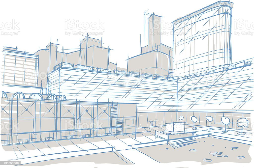 Architectural sketch. Square. street. vector art illustration