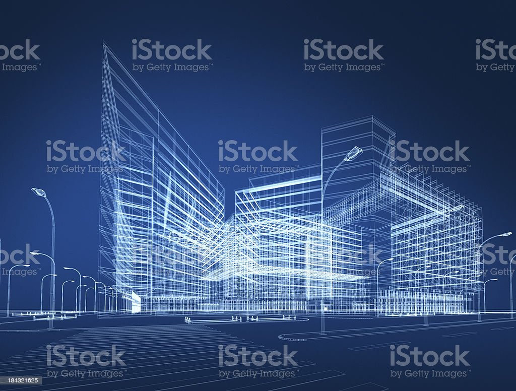 3D architecture abstract vector art illustration