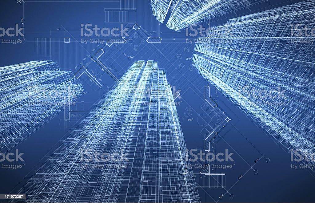 Architecture Blueprint vector art illustration