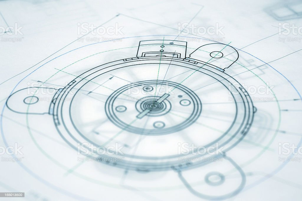 Architecture Blueprint-Mechanical Engineering Blueprint vector art illustration